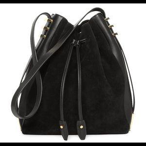 NWOT LUANA Italy Black Cecilia Leather Bucket Bag